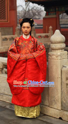 Chinese Traditional Ming Dynasty Empress Wedding Clothing Ancient Queen Embroidered Costumes and Headpiece for Women