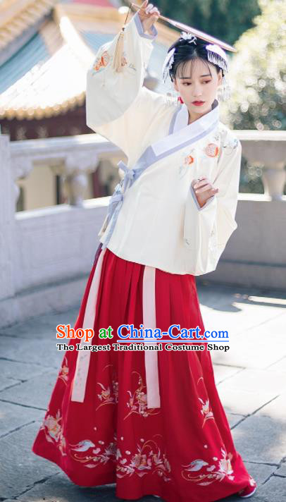 Traditional Chinese Ming Dynasty Nobility Lady Embroidered Costumes Ancient White Blouse and Red Skirt for Women