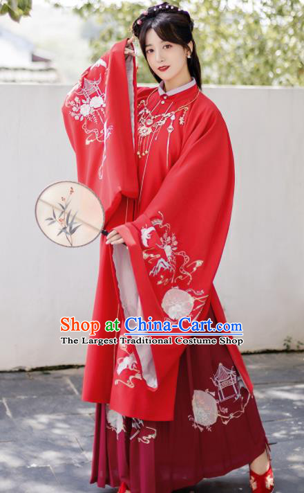 Traditional Chinese Ming Dynasty Wedding Clothing Ancient Nobility Lady Embroidered Costumes for Women