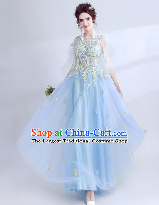 Top Grade Compere Blue Veil Formal Dress Handmade Catwalks Angel Full Dress for Women