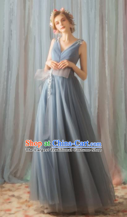 Top Grade Compere Grey Veil Formal Dress Handmade Catwalks Angel Full Dress for Women