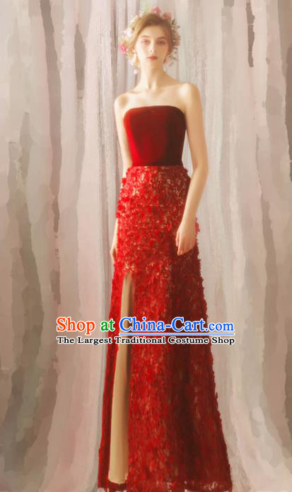 Top Grade Compere Red Velvet Formal Dress Handmade Catwalks Angel Full Dress for Women