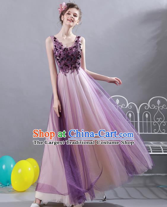 Top Grade Compere Purple Veil Formal Dress Handmade Catwalks Angel Full Dress for Women