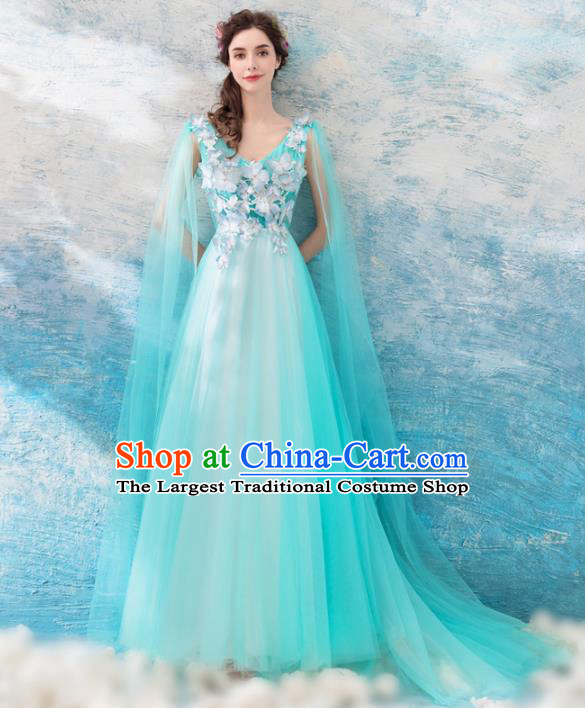 Top Grade Compere Green Veil Formal Dress Handmade Catwalks Angel Full Dress for Women