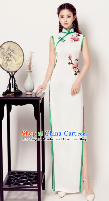 Chinese Traditional Chorus Embroidered Cheongsam Wedding Bride Costume Compere Full Dress for Women