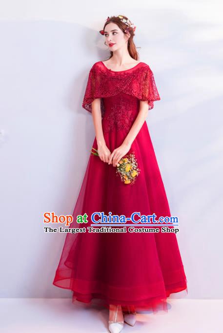 Top Grade Compere Wine Red Formal Dress Handmade Catwalks Angel Full Dress for Women