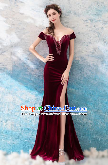 Top Grade Compere Wine Red Velvet Formal Dress Handmade Catwalks Angel Full Dress for Women