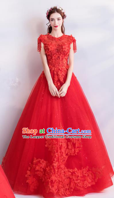 Handmade Princess Embroidered Red Wedding Dress Top Grade Fancy Wedding Gown for Women