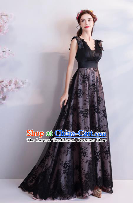 Top Grade Compere Black Veil Formal Dress Handmade Catwalks Angel Full Dress for Women