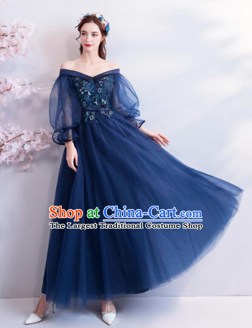 Top Grade Compere Formal Dress Handmade Catwalks Angel Blue Veil Full Dress for Women