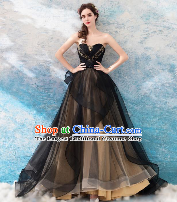Top Grade Compere Formal Dress Handmade Catwalks Angel Black Veil Full Dress for Women