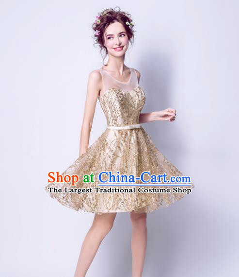 Top Grade Golden Short Evening Dress Compere Costume Handmade Catwalks Angel Full Dress for Women