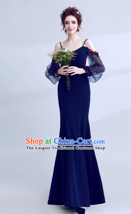 Top Grade Deep Blue Evening Dress Compere Costume Handmade Catwalks Angel Full Dress for Women