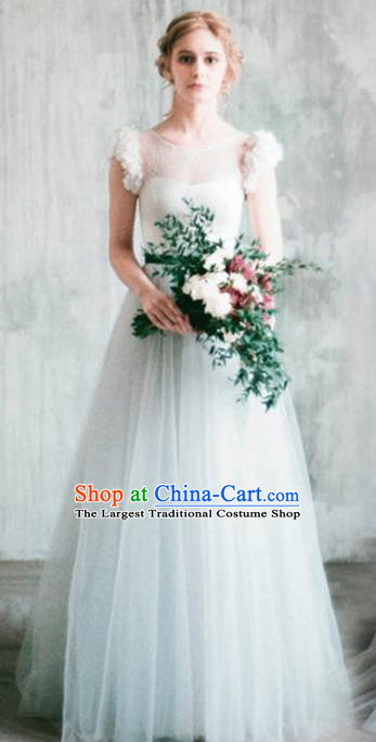 Top Grade Veil Evening Dress Compere Costume Handmade Catwalks Angel Full Dress for Women