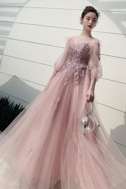 Top Grade Pink Veil Evening Dress Compere Costume Handmade Catwalks Angel Full Dress for Women