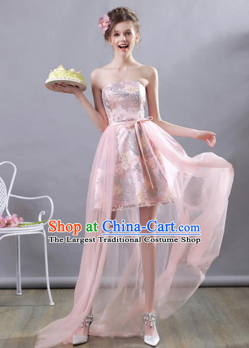 Top Grade Pink Short Evening Dress Compere Costume Handmade Catwalks Angel Full Dress for Women