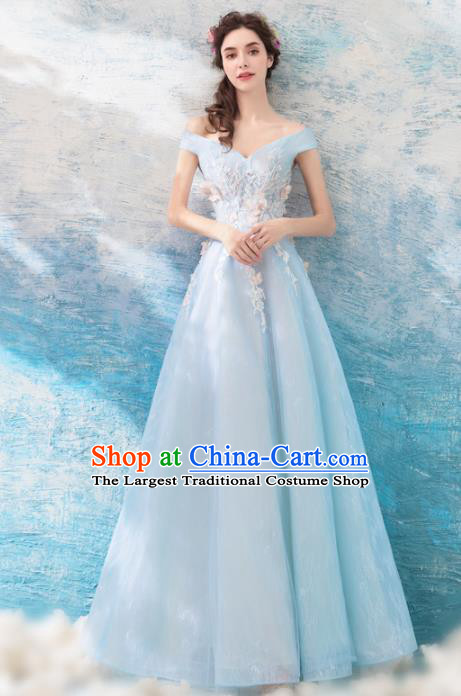 Top Grade Blue Evening Dress Compere Costume Handmade Catwalks Angel Full Dress for Women