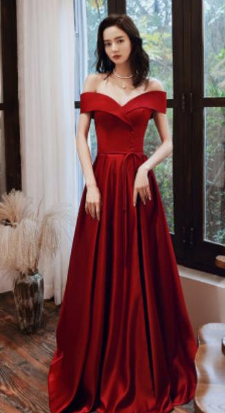 Top Grade Red Evening Dress Compere Costume Handmade Catwalks Angel Full Dress for Women