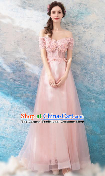 Top Grade Pink Flat Shouders Evening Dress Compere Costume Handmade Catwalks Angel Full Dress for Women