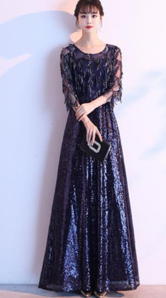 Top Grade Navy Evening Dress Compere Costume Handmade Catwalks Angel Full Dress for Women
