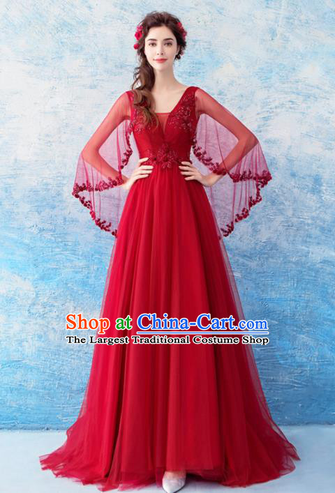 Top Grade Red Veil Evening Dress Compere Costume Handmade Catwalks Angel Full Dress for Women