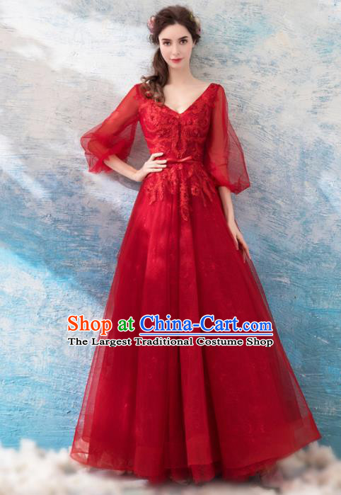 Top Grade Embroidered Red Veil Evening Dress Compere Costume Handmade Catwalks Angel Full Dress for Women