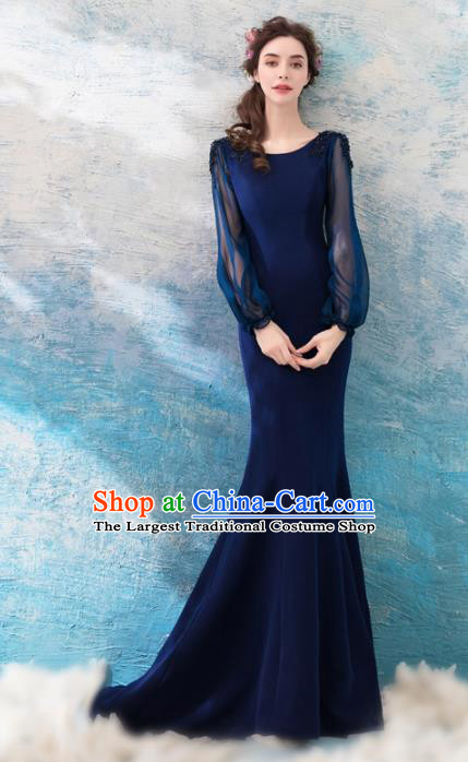 Top Grade Mermaid Evening Dress Compere Costume Handmade Catwalks Angel Full Dress for Women
