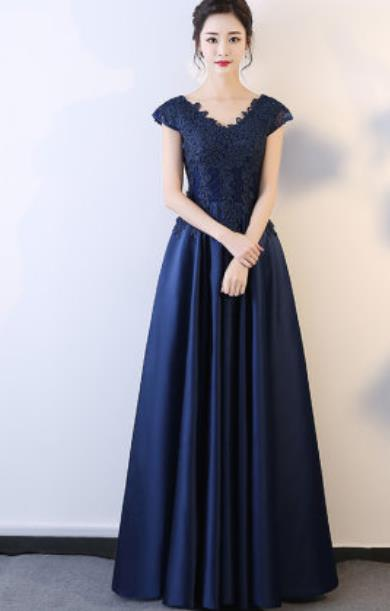 Top Grade Embroidered Navy Evening Dress Compere Costume Handmade Catwalks Angel Full Dress for Women