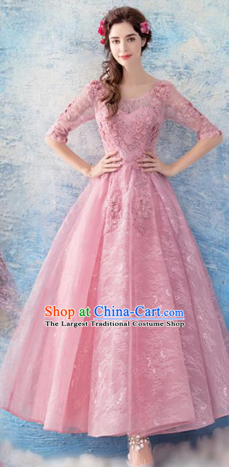 Top Grade Evening Dress Compere Costume Handmade Catwalks Angel Pink Full Dress for Women