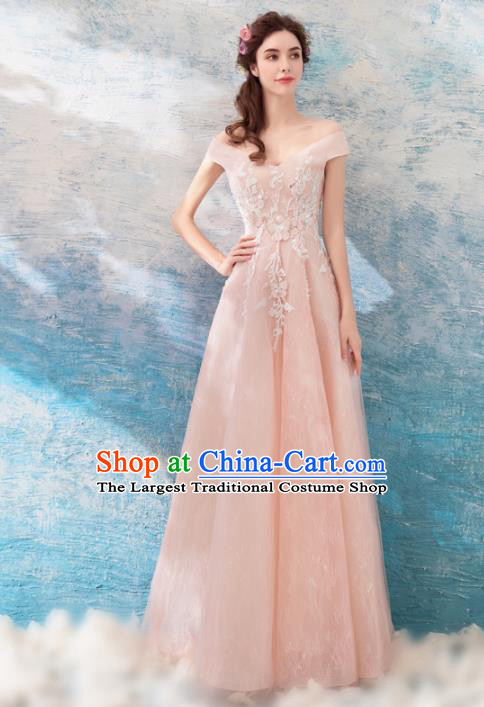 Top Grade Champagne Evening Dress Compere Costume Handmade Catwalks Angel Full Dress for Women