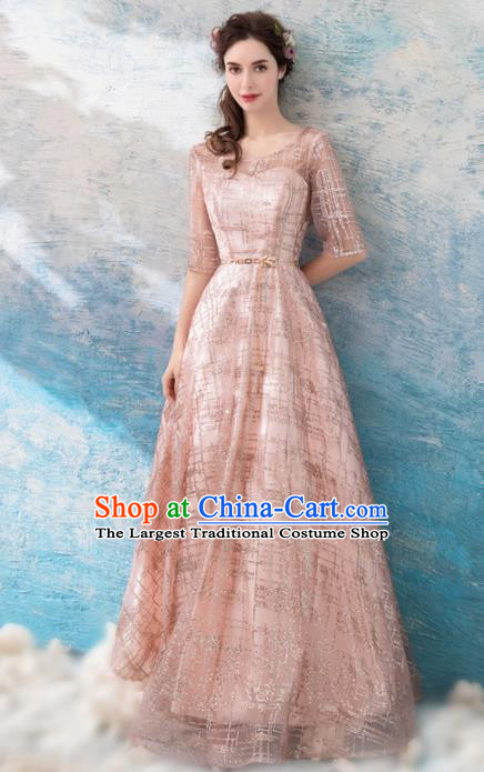 Top Grade Pink Evening Dress Compere Costume Handmade Catwalks Angel Full Dress for Women