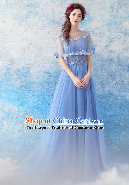 Top Grade Blue Veil Evening Dress Compere Costume Handmade Catwalks Angel Full Dress for Women