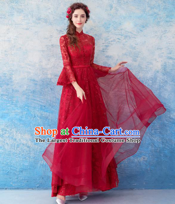 Top Grade Purple Veil Evening Dress Compere Costume Handmade Catwalks Angel Full Dress for Women