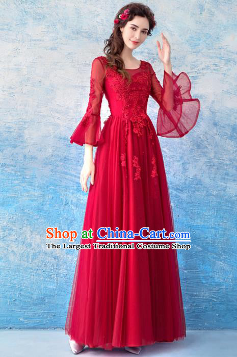 Top Grade Flare Sleeve Evening Dress Compere Costume Handmade Catwalks Angel Full Dress for Women