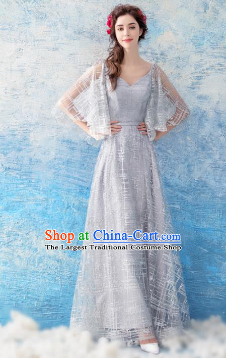 Top Grade Grey Evening Dress Compere Costume Handmade Catwalks Angel Full Dress for Women