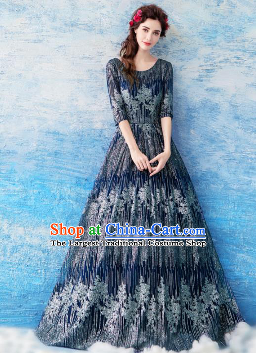 Top Grade Navy Diamante Evening Dress Compere Costume Handmade Catwalks Angel Full Dress for Women