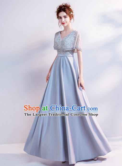 Handmade Grey Diamante Evening Dress Compere Costume Catwalks Angel Full Dress for Women
