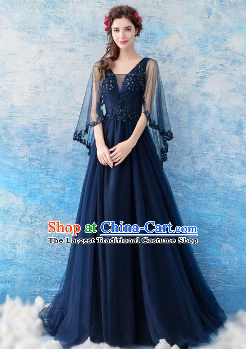 Top Grade Compere Navy Veil Formal Dress Handmade Catwalks Angel Full Dress for Women