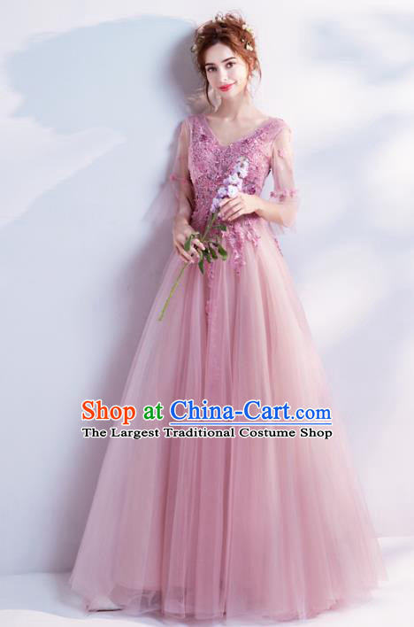 Handmade Pink Lace Evening Dress Compere Costume Catwalks Angel Full Dress for Women