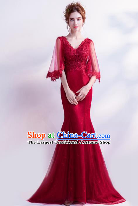 Handmade Wine Red Evening Dress Compere Costume Catwalks Angel Full Dress for Women