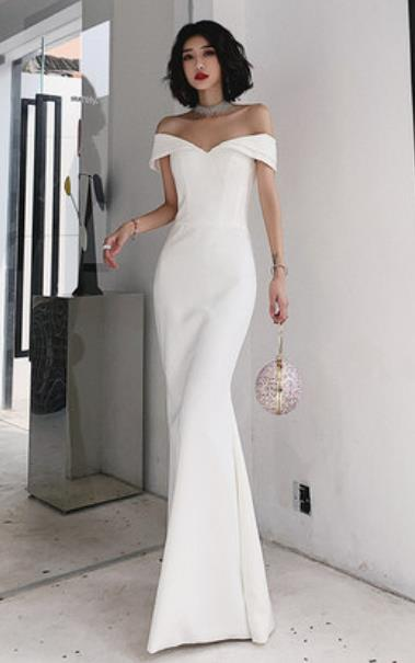 Handmade White Evening Dress Compere Costume Catwalks Angel Full Dress for Women