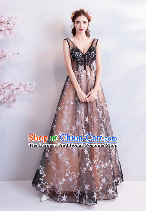 Top Grade Evening Dress Compere Costume Handmade Catwalks Angel Full Dress for Women