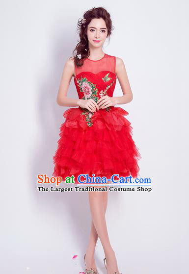 Top Grade Red Bubble Formal Dress Compere Costume Catwalks Evening Dress for Women