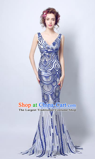 Top Grade Mermaid Formal Dress Compere Costume Catwalks Evening Dress for Women