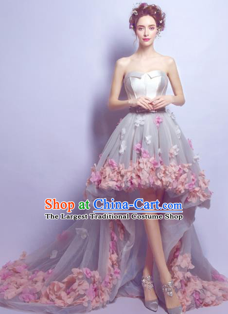 Top Grade Grey Veil Trailing Formal Dress Compere Costume Catwalks Evening Dress for Women