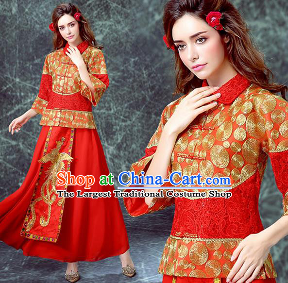Ancient Chinese Wedding Embroidered Costumes Traditional Bride Red Xiuhe Suits for Women