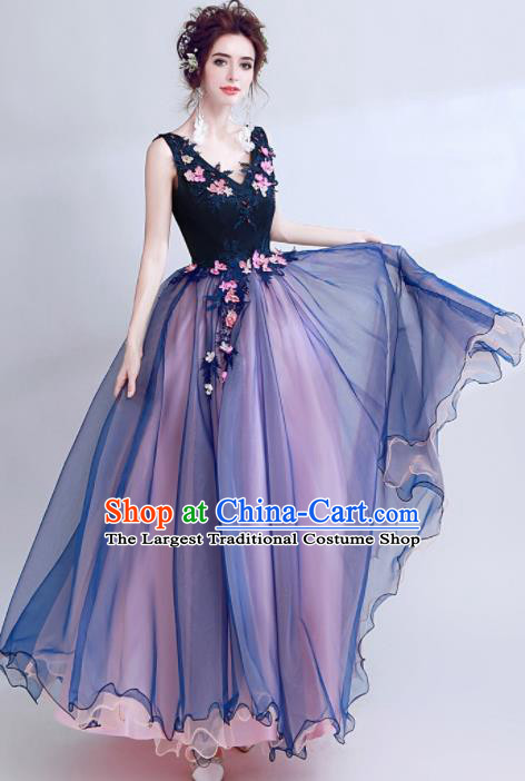 Handmade Embroidered Navy Evening Dress Compere Costume Catwalks Angel Full Dress for Women