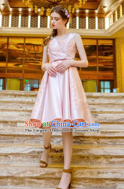 Handmade Pink Satin Short Evening Dress Compere Costume Catwalks Angel Full Dress for Women