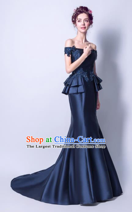 Handmade Navy Satin Evening Dress Compere Costume Catwalks Angel Full Dress for Women