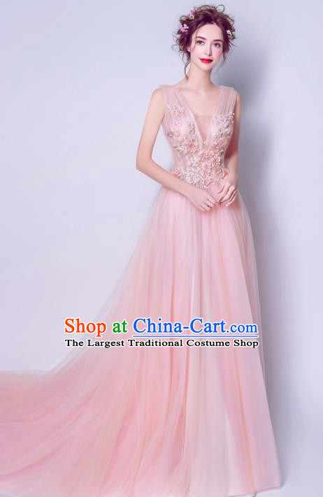 Handmade Pink Veil Formal Dress Compere Costume Catwalks Angel Evening Dress for Women